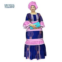 African Bazin Riche Dresses for Women Long Maxi Dress Headtie Beads Splice Dashiki Traditional Clothing WY2641