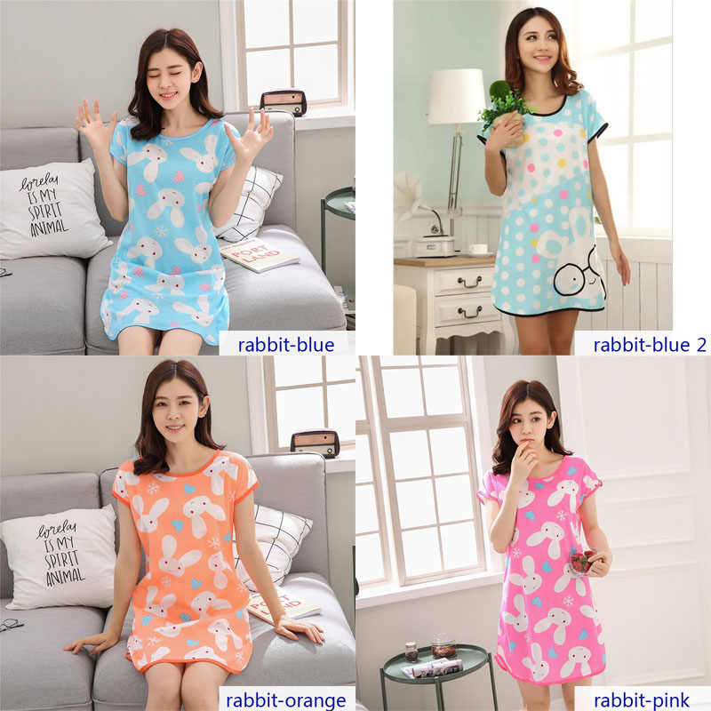 YINSILAIBEI صالة الصيف فضفاضة الإناث قمصان النوم المرأة ملابس خاصة الحيوان الكرتون لطيف النوم اللباس المنزل الملابس #40