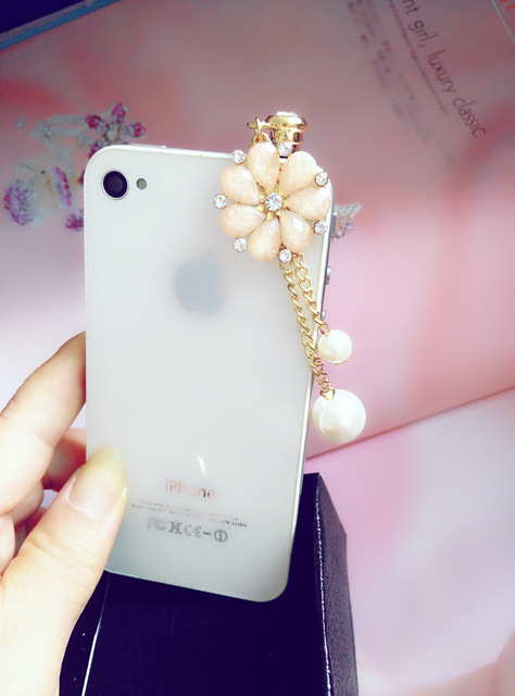 Exclusive new sunflower pearl pendant universal phone dust plug for Xiaomi and all 3.5mm earphone jack plug