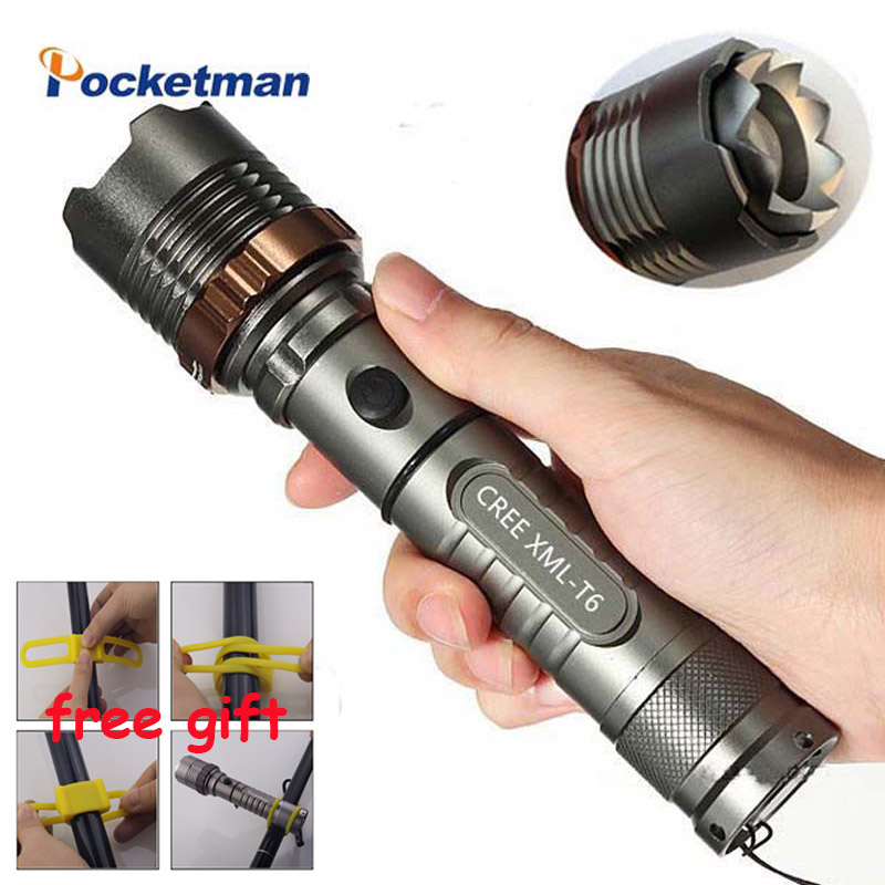 LED Tactical Flashlight 4000 Lumens XM-L T6 5 modes led Flashlight Rechargeable Waterproof Torch with AAA or 18650 for Camping xm l t6 mini flashlight 3800lm waterproof led flashlight 5 modes led torch light rechargeable tactical 18650 lanterna