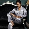 New Arrival Men Pajama Sets Turn-down Collar Sleepwear Emulation Silk Soft Full Sleeve Night Dressing Button Pyjamas 7206