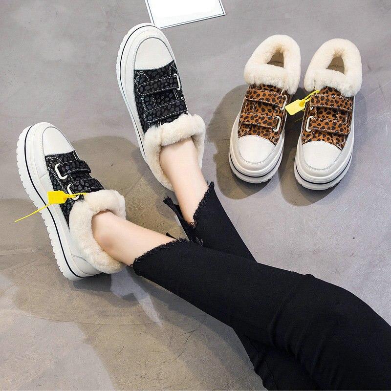 2018 Plus Samt Weibliche plush Lining Wilden plush Lining Winter Sohlen Green Aufkleber Schuhe Version Dicken Pelz Studenten Koreanische Flache Plattform Magie black XXOnA7