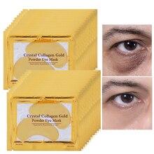 100 шт = 50 упаковок золотых масок для глаз, удаляемая кристаллами темная круглая маска для глаз, двойные увлажняющие омолаживающие патчи для глаз