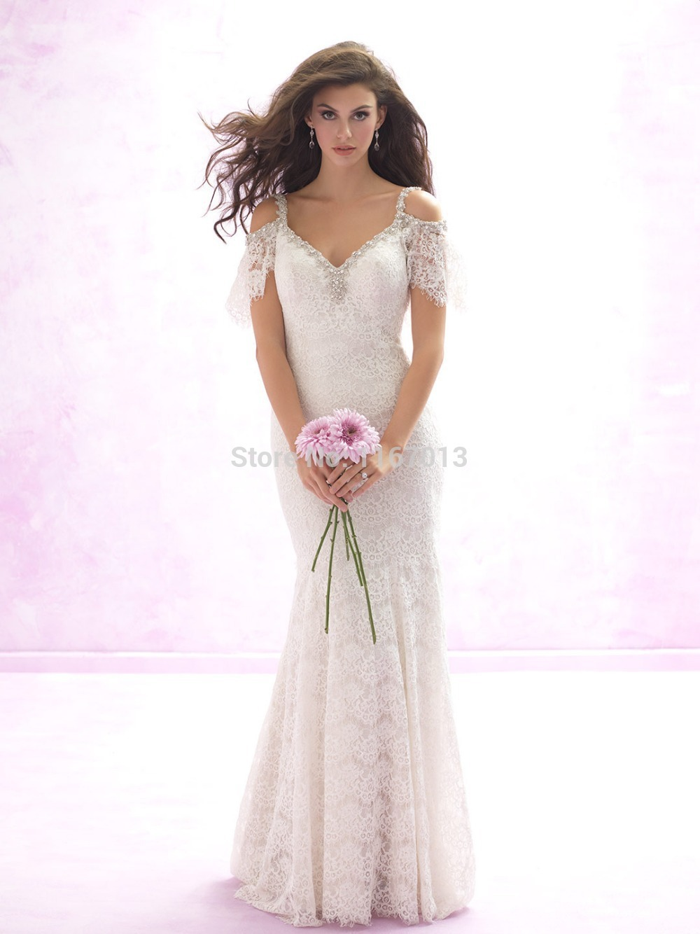 Online shop 2015 romantic white lace mermaid wedding dresses short online shop 2015 romantic white lace mermaid wedding dresses short sleeve deep v neck low back short sleeve crystals court train bridal gown aliexpress ombrellifo Gallery