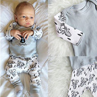 Cute Kids Christmas Infant Baby Boy Outfits Clothes Casual Printing Pants Leggings Hat 3PCS Set