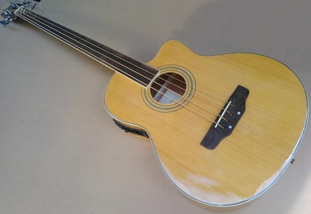 442a9d8b5ea 4 string fretless acoustic electric bass guitar with free case free strap  free cable