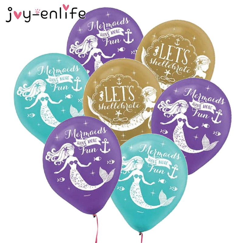 JOY-ENLIFE 10pcs Birthday Party Decorations Latex Balloons Mermaid Theme Party Baby Shower Wedding Decorations Party Supplies