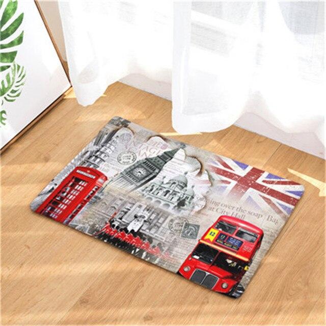 Cammitever London Ben Double Decker Bus Bridge Paris Towel Welcome Home Doormat Rug Entrance