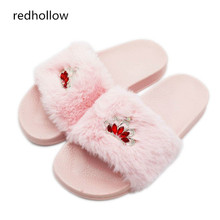 Women Slippers Flock Fashion Crystal Spring Summer Autumn Home Faux Fur Slippers Women Slides Flip Flops Flat Shoe Zapatos Mujer