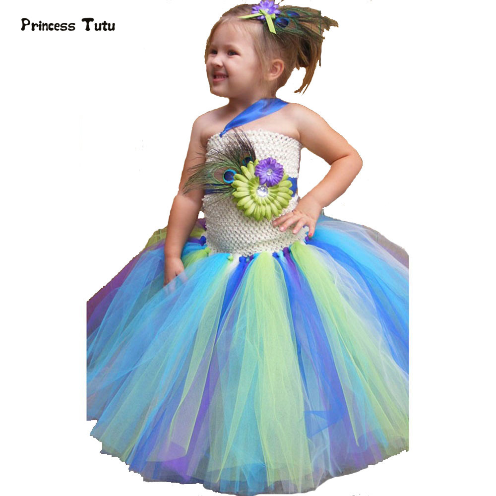 Children Kids Baby Girl Princess Tutu Dress Fairy Tulle Flower Girl Dresses For Wedding Birthday Girl Infant Party Peacock Dress