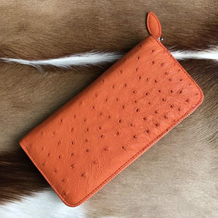 100% genuine ostrich leather skin long women wallets bank card holder, ostrich skin woomen bank card holder coin case wallet