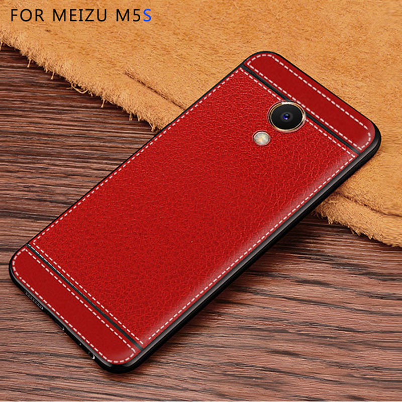 Litchi mönster cortex silikonfodral för Meizu M5s lychee läder - Reservdelar och tillbehör för mobiltelefoner - Foto 4