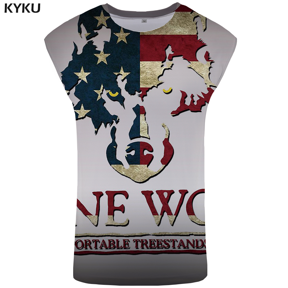 KYKU Brand Wolf   Tank     Top   Men United States Stringer Animal Ftness Clothing S-Xxxxxl Undershirt Vest Mens Bodybuilding