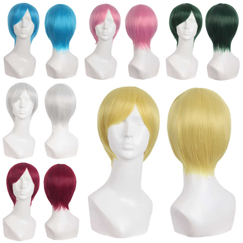 MapofBeauty Short Straight Wigs Gold Dark Red Green Blue Natural Cosplay Wig Costume Heat Resistant Synthetic Hair Hairpieces