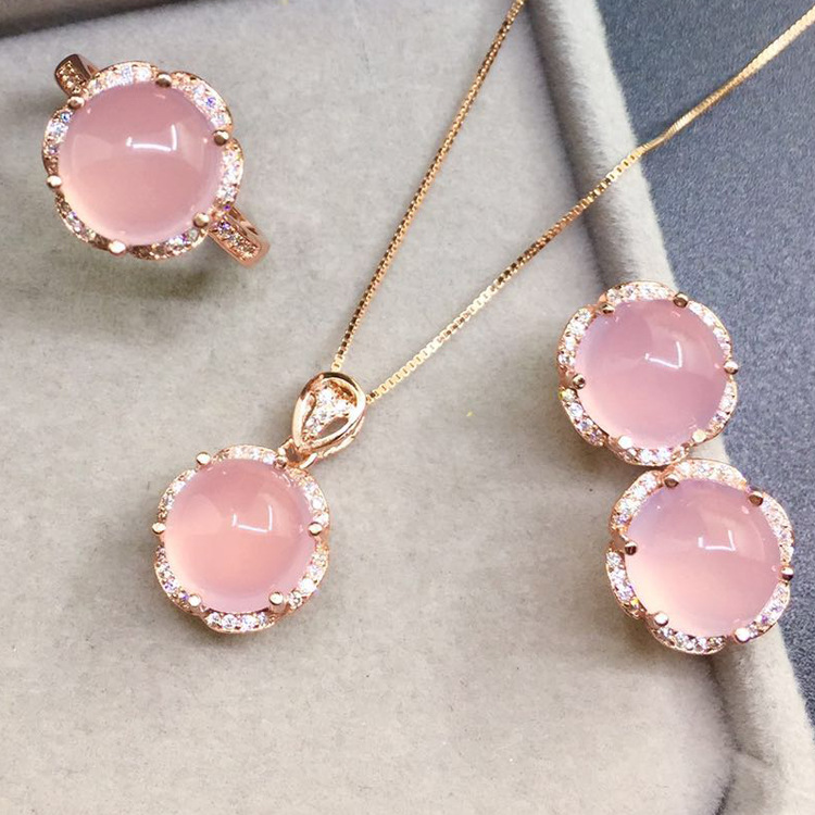 Ring + Earrings + necklace 3 pieces women jewelry Pink Chalcedony Natural semi-precious stones girlfriend gift 925 sterling silver jewelry natural semi precious stones retro yellow chalcedony earring classical retro girlfriend gift