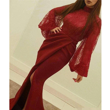 Sexy Prom Gowns Lace Bodice Front Slit robe de soiree Mermaid Burgundy Formal Dress 2019 Long Sleeve Evening Dress cap sleeve slit front fitted dress