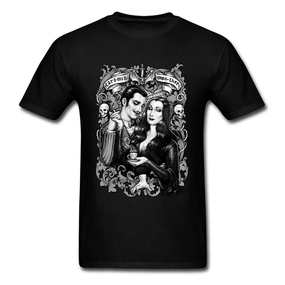 Cara <font><b>Mia</b></font> Mon Cher T-Shirt Lovers Tops Vintage Painting Clothing Man Cotton T Shirt Skulls Tee Couple <font><b>Black</b></font> <font><b>Tshirts</b></font> image