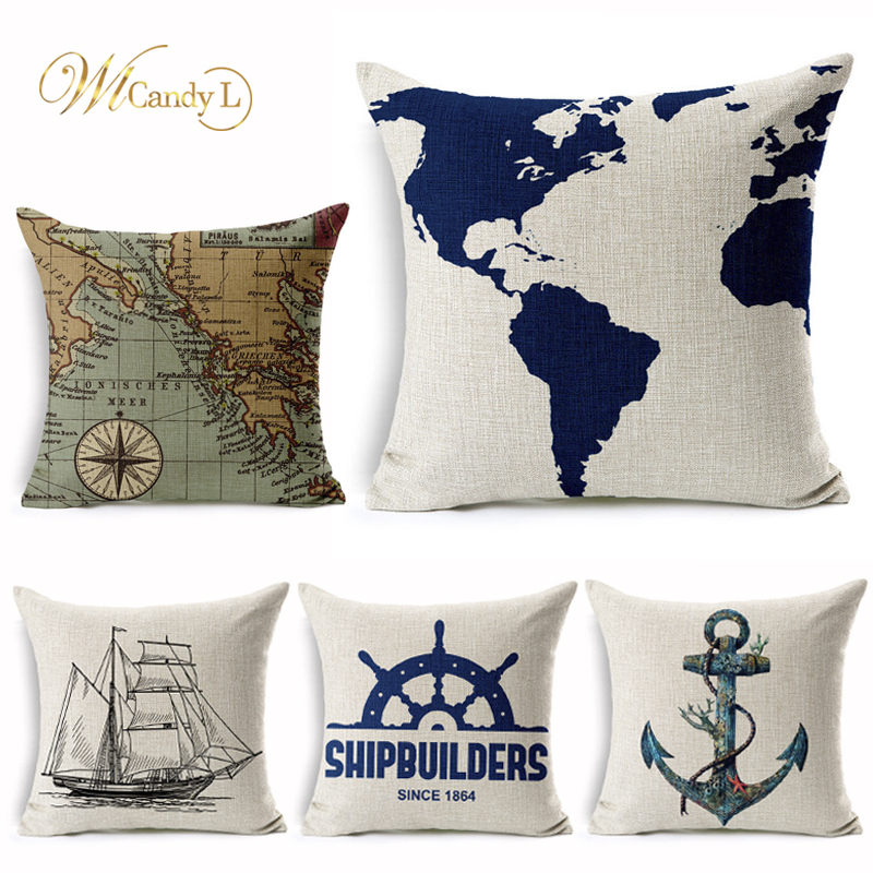 WL Candy L Cushion Cover Sailing Boat Anchor Map Pattern Printing Car Sofa Home Decorative 45*45cm Linen Throw Pillow Cover