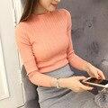 Sexy moda de las mujeres de cuello alto básico delgado de manga larga de punto delgado suéter de color sólido femenino del resorte del otoño pullover top ropa