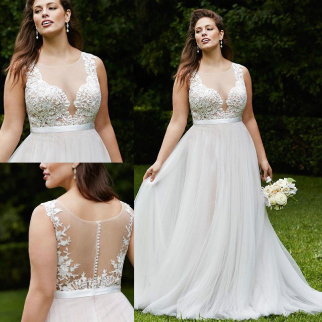 979c32b8f1fd Romance Applique Lace Wedding Dresses Plus Size Chiffon Summer Wedding  Dress See Through Back Garden Wedding Gowns for Bride