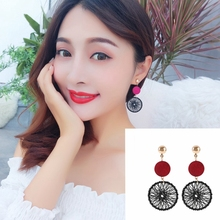High-quality Korean Temperament Personality Joker Long Pendant Retro Circle Dream Net Earrings Female