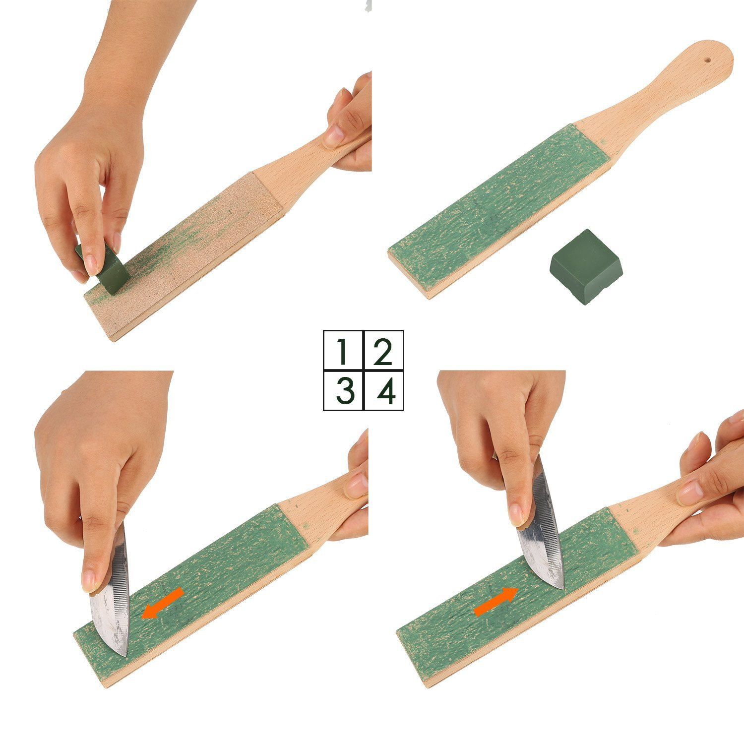 Image 2 - Leather Strop with Compounds Kit, Honing Block Stropping Leather Paddle Strop 4.58 oz Green White Buffing Polishing Compounds-in Sharpeners from Home & Garden