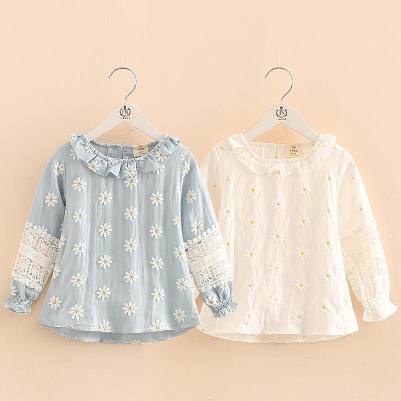 Девочки блузка 2018 осень весна мода детская детская одежда дети девочка воротник мандарина с длинным рукавом вырез цветок