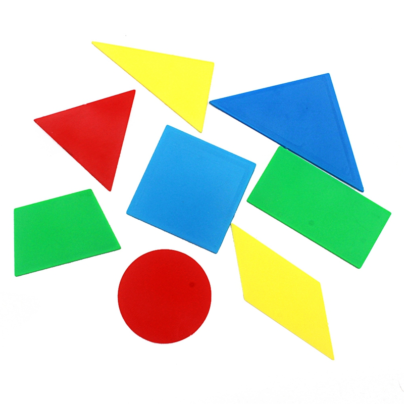 8Pcs/Lot Montessori Mathematics Plastic Toys Colorful Geometric Shape/Figures Compare Size Area Triangle/Round/Trapezoid Student