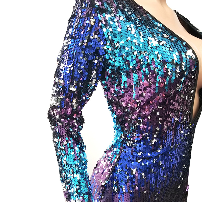 Adogirl Colorful Sequins Deep V Neck Playsuit Women Sexy Sheath Long Sleeve Night Club Party Jumpsuit Casual Overalls Rompers 95