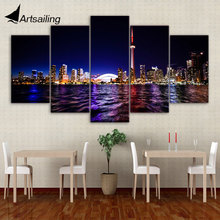 Framed Printed downtown toronto 5 piece picture Painting wall art room decor print poster picture canvas Free shipping/ny-2737 printed abstract graphics psychedelic nebula space painting canvas print decor print poster picture canvas free shipping ny 5746
