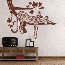 Cartoon Leopard Safari Tree Wall Decal Baby Nursery Forest Jungle Animal Branch Bird Sticker Bedroom Playroom Vinyl