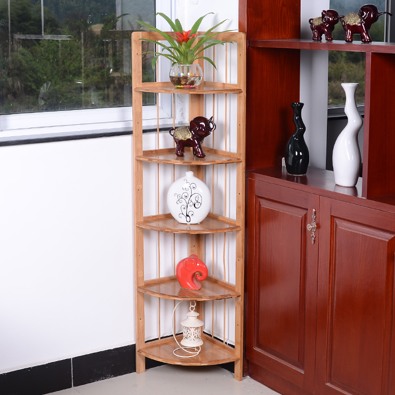 Corner cabinet corner cabinet wood clapboard shelf racks storage sideboard living room three for Small storage cabinet for living room