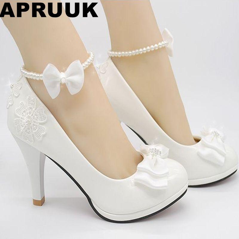 Chaussures mariage lait blanc clair ivoire pompes pour femme bas talons hauts PR563 pompe de mariage pour femme chaussures de mariée bow décoration