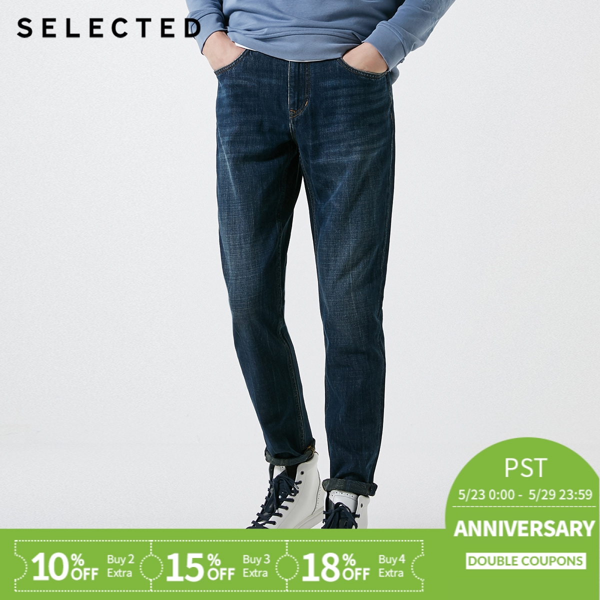 SELECTED Men's Spring Fading Cotton   Jeans   C|419132536