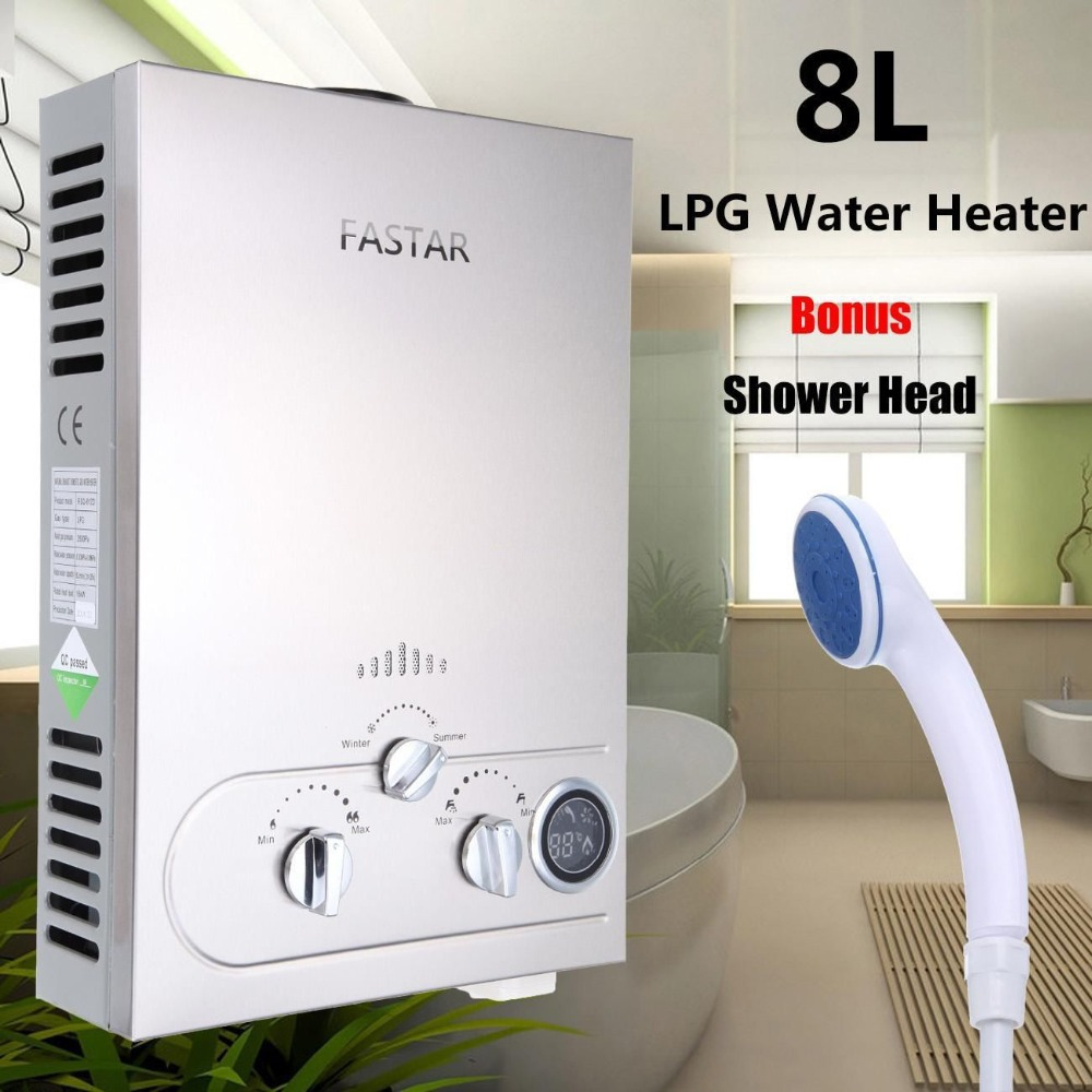 Special Offer Flue Type Lgp Tankless 8l Lpg Propane Gas Hot Water Heater Tankless Instant Boiler Stainless Lcd Ce