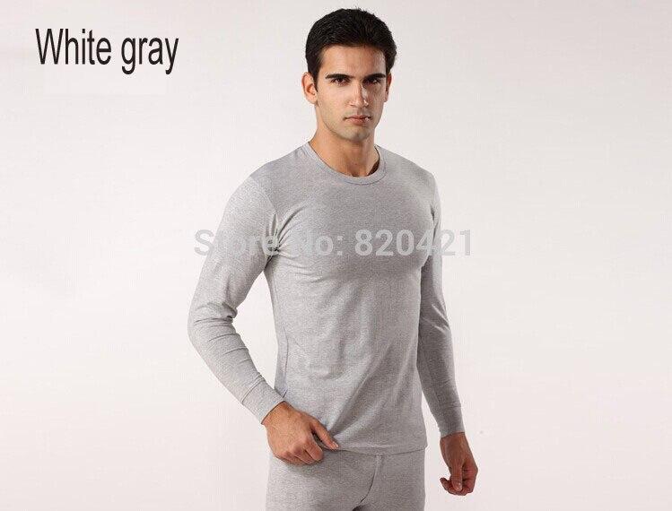 Fcare Men cotton round neck cotton knit collar foundation primer thin section thermal underwear sets XXL