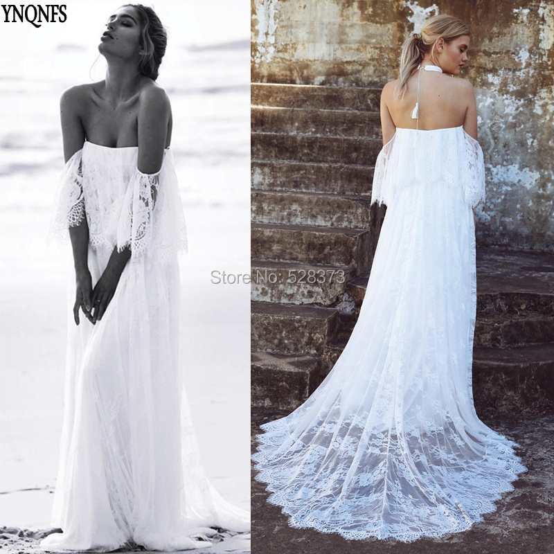 Hot Sale YNQNFS W82 Real Vestido de Noiva Simples Boho Beach Wedding ...