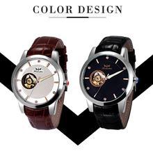 2016 Горячая Продажа мужская Мода PU Кожаный Ремешок Механические Часы Наручные Часы красивый ИЮНЯ 8