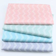 160CM*50CM cotton PINK GREEN BLUE GRAY double line white chevron fabric for DIY crib bedding cushion apparel fabric decor(China)