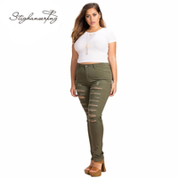 Women Plus Size Army Green High Waist Distressed Skinny Jeans Trousers Ripped Big Size Pencil Pants 3XL 4XL 5XL 6XL