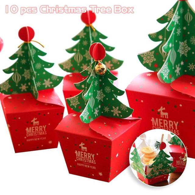 10 PCS/Set Merry Christmas Candy Box Bag 3D Christmas Tree Gift Box With  Bells
