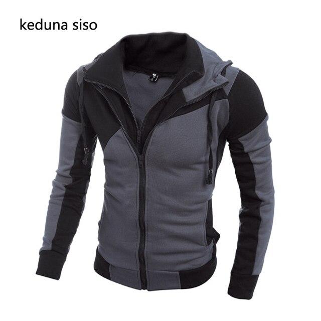 Assassins Creed Black Bule Hoodie Men's Fashion Joggers Sportswear Hoodies Double Zipper Casual Hooded Jacket Splicing