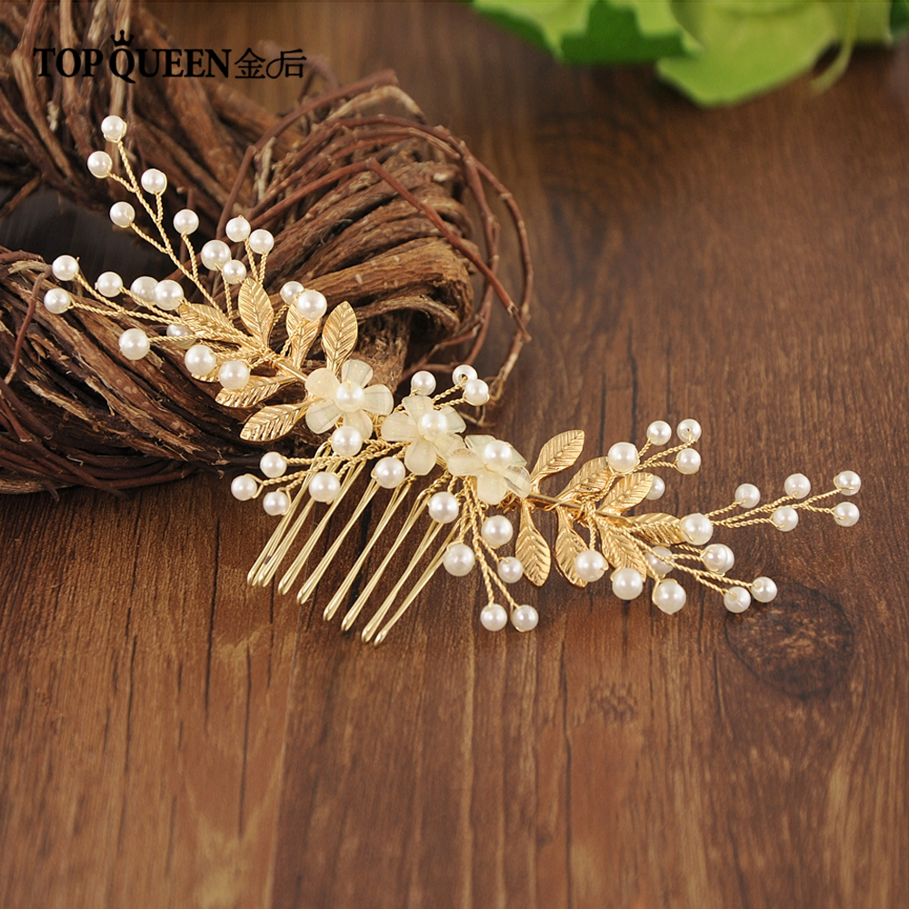 TOPQUEEN HP178 Bride Hair Jewelry Handmade Flower Diamond Wedding Hair Accessories Hair Comb Bride Hair Ornaments