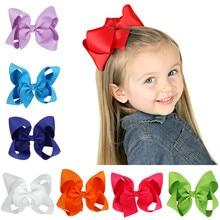 Cute Baby Grosgrain Ribbon big solid Bow hairpins Hair Clip Pin Flower Baby Girl Headdress Accessories Green Yellow White Black