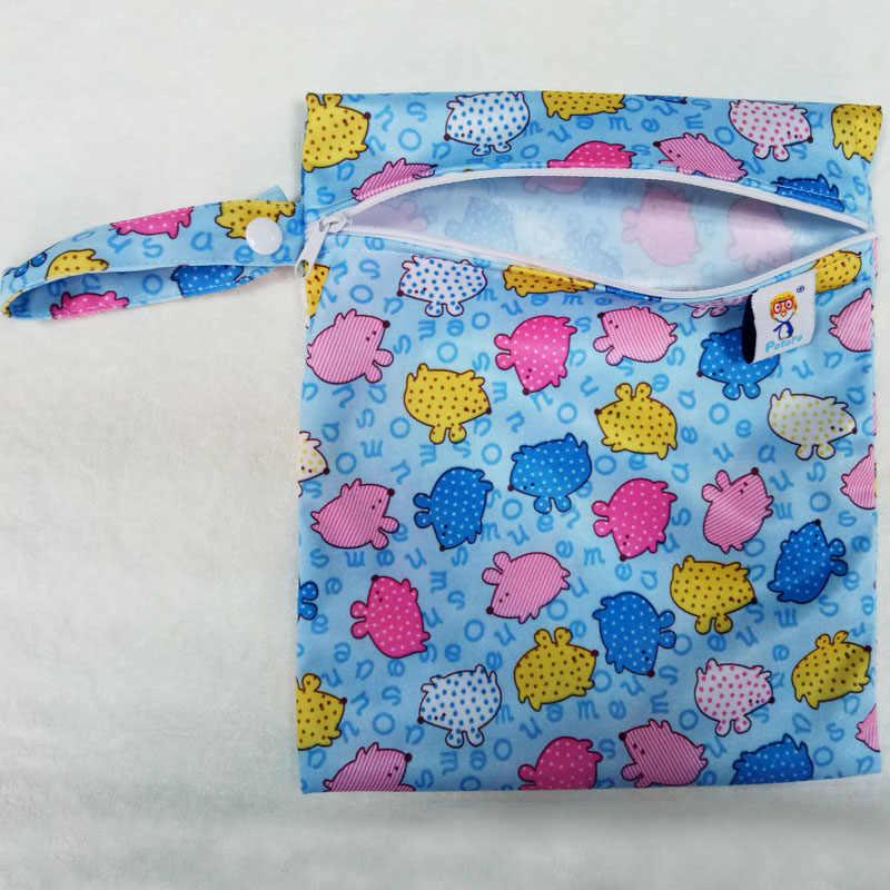 20*25CM Pororo pojedyncza kieszeń torba na pieluchy, torba pieluszka dla niemowląt, wodoodporne torby pielucha wielokrotnego użytku, mały rozmiar mumia sucha torba hurtownia