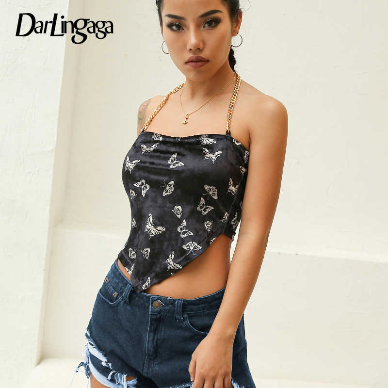 121b4a551326 Darlingaga Fashion gold chain halter top women camis suede butterfly print  crop top sexy backless tops
