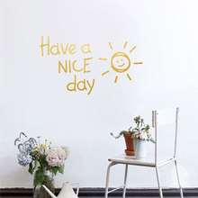 Have A NICE Day Lovely Sun Vinyl Wall Sticker Living Room Bedroom Decor Decals Art English Alphabet Stickers Wallpaper LW140