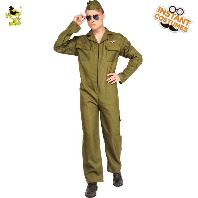 Adult Man's Career Costumes Airman Cosplay Jumpsuit Handsome Cool Pilot Airman Outfits with Hat for Carnival Party Costumes