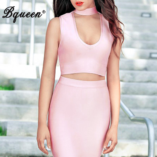 Bqueen 2017 Rayon Deep V Halter Crop Top Bustier Elegant Short Tank Black Pink Women Sexy Sleeveless Club Party Bandage Tops