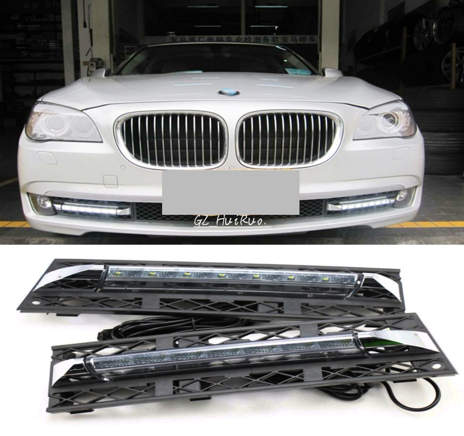 2pcs White Daytime Running Lights DRL LED Fog Lamp for BMW 7 Series F01 F02 730i/740i/750i/760i 2009-2012 стоимость